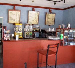 The counter area of the coffeeshop
