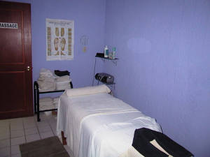The massage room, quiet, peaceful, and tranquil.