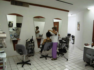 The front of the salon, with 3 hair stations
