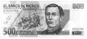 A Mexican 500 Peso note, with a picture of Ignacio Zaragoza on it.