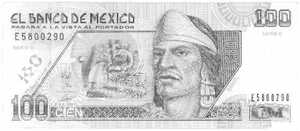A Mexican 100 Peso note, with a picture of Nezahualcoyote on it.