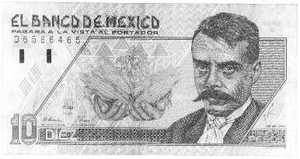 A Mexican 10 Peso note, with a picture of Emiliano Zapata on it.