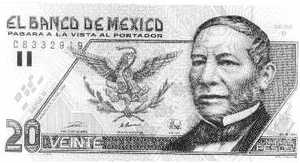 A Mexican 20 Peso note, with a picture of Benito Juarez on it.