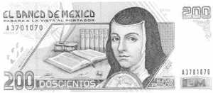 A Mexican 200 Peso note, with a picture of Juana Inès de La Cruz on it.
