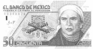 A Mexican 50 Peso note, with a picture of José María Morelos, on it.