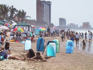 A typical day on the beach during Easter Week